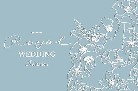 Kaart met een wit gebloemd kant. Bloemen Achtergrond. Vector uitnodiging van het huwelijk. Stock Illustratie