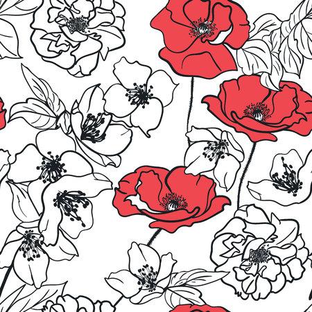 Vector naadloos bloemenpatroon. Monochrome Bouquete van bloemen met een set van rode bloemen
