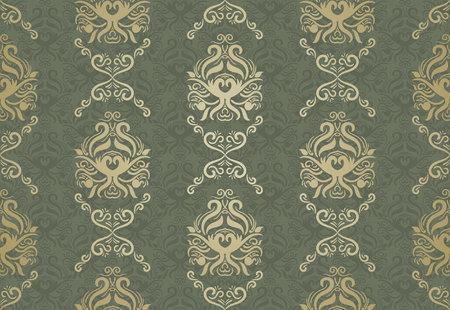 Naadloos bloemenpatroon voor achtergrond ontwerp in Victoriaanse stijl. Golden & Green, Klassiek behang, dekking, gordijnen etc.