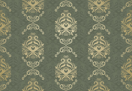 Seamless floral pattern for background design in victorian style. Golden & Green, Classic wallpaper, cover, drapery etc. Ilustracja