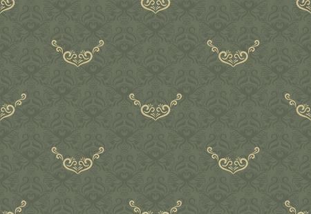 Naadloos bloemenpatroon voor achtergrond ontwerp in Victoriaanse stijl. Golden & Green, Klassiek behang Stock Illustratie