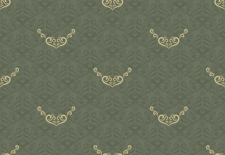 Seamless floral pattern for background design in victorian style. Golden & Green, Classic wallpaper Ilustracja