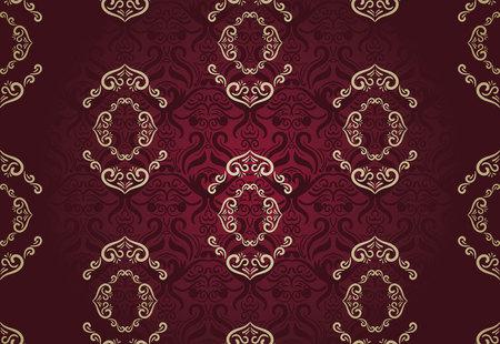 Naadloos bloemenpatroon voor achtergrond ontwerp in Victoriaanse stijl. Golden & Marsala, Klassiek behang