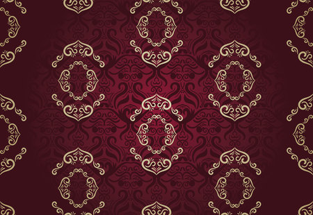 Seamless floral pattern for background design in victorian style. Golden & Marsala, Classic wallpaper Stock fotó - 66714648