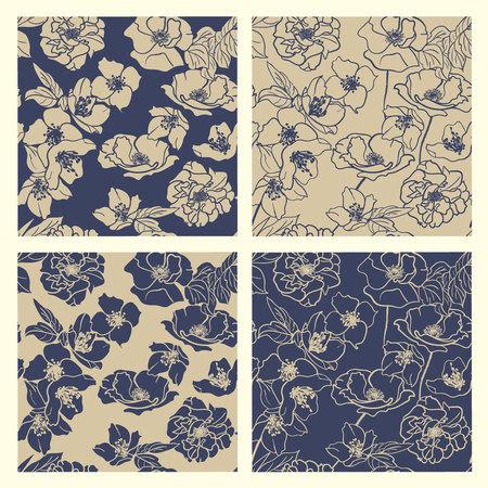 Collection of Hand-drawn floral wallpapers, 4 Seamless patterns. Elegant Classic Blue & deep Beige Illusztráció