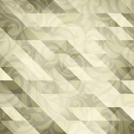 Luxury abstract transparent floral wallpaper, with triangle textured design: golden palette Vectores