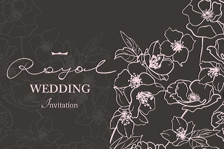 Card with a white floral lace. Floral Background. Vector Wedding invitation Card