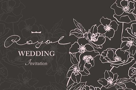 Karte mit einem weißen Blumenspitze. Floral Background. Vector Hochzeitseinladungskarte Standard-Bild - 68431703