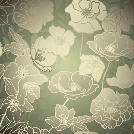 Elegante Bloemen achtergrond met gouden silhouetten van bloemen op groene geweven bloeien achtergrond