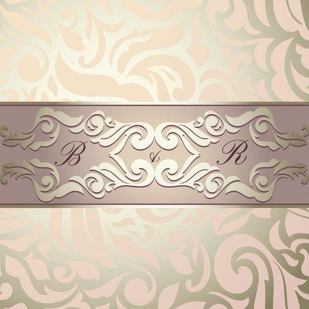Uitstekende achtergrond, wenskaart, uitnodiging, abstract bloemmotief sjabloon voor bruiloft. Golden & Roze Stock Illustratie