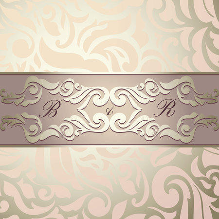 dcor: Vintage background, greeting card, invitation, abstract floral pattern template for wedding. Golden & Pink