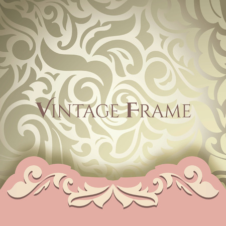 royal frame: Vintage background, greeting card, invitation, abstract floral pattern template for wedding. Golden & Pink
