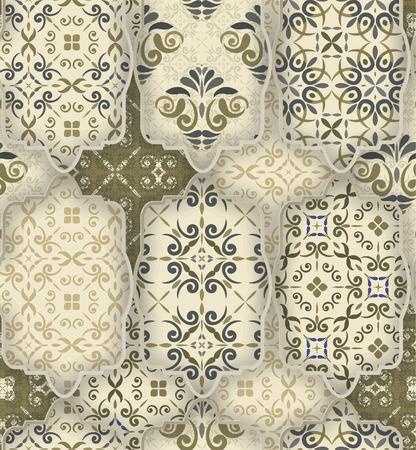 Naadloze patchwork patroon van klassiek groen-grijs-wit stijl Marokkaanse tegels, ornamenten. Kan gebruikt worden voor behang, oppervlaktestructuren, textiel, dekken etc.