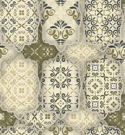 Seamless patchwork pattern from CLASSIC green-grey-white style Moroccan tiles, ornaments. Can be used for wallpaper, surface textures, textile, cover etc. Vectores