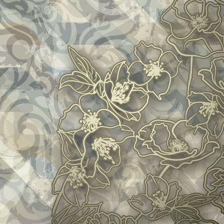 Bloemen kaart. Achtergrond in de stijl van de barok: gouden wervelingen op houtstructuur en Hoek van bloemen. Card, uitnodiging, banner, dekken etc.