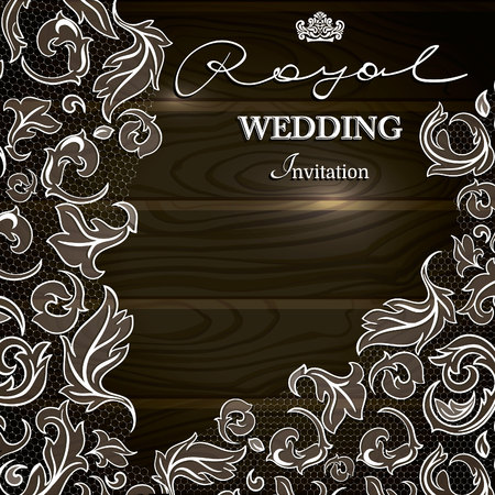 Vintage background, greeting card, invitation with LACE ornamental corner on a wood texture