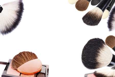 professional make-up shadow set, brush, pencils collage photo