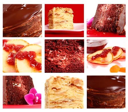 collage set of cakes. chocolate, napoleon, pancakes photo