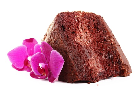 isolated chocolate chiffon cake with orchid flower photo