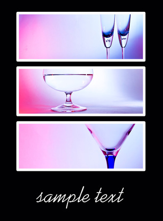 glass for brandy  on blue and red background photo