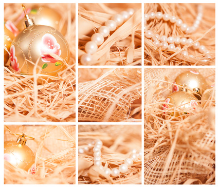 christmas collage of different backgrounds with toy and strow in gold colour photo
