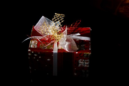 new year red boxes background with ribbon photo