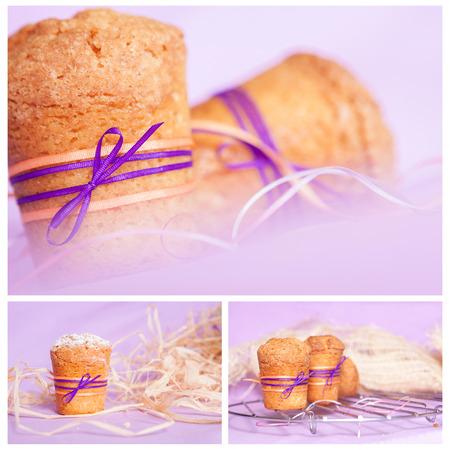 muffin with purple ribbon on purple background photo