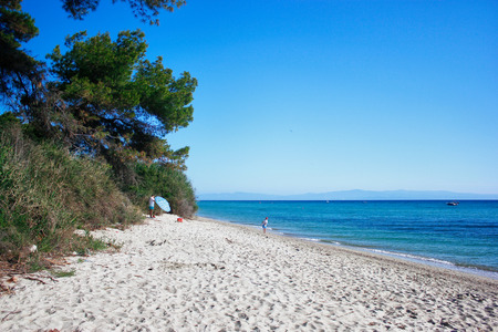 Greece. Halkidiki. Kassandra. Beach 스톡 콘텐츠