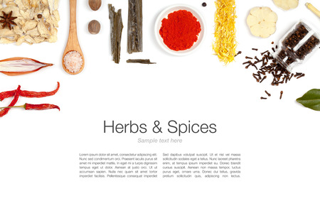 spice: herbs and spices on white background Stock Photo