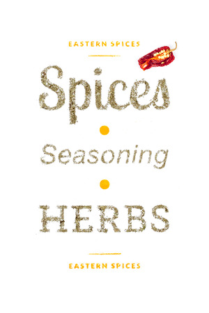 spices and herbs on white background photo