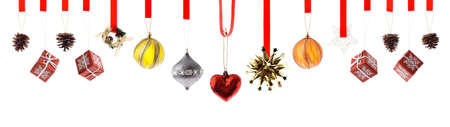 Assorted high resolution Christmas decorations and ornaments isolated on white photo
