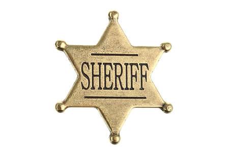 sheriff badge: Punto seis alguacil insignia estrellas aislada sobre fondo blanco Foto de archivo
