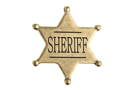 Six point sheriff star badge isolated on white Stock Photo - 9974664
