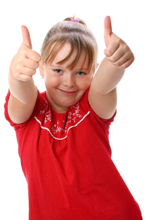 thumbs up gesture: Small girl showing thumbs up gesture isolated on white Stock Photo