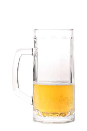 half full: Half-drank beer mug isolated on white Stock Photo