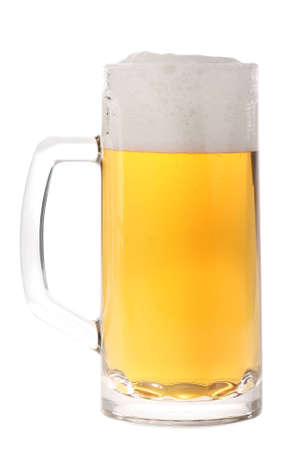 mug of ale: Full beer mug isolated on white