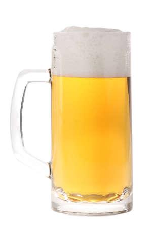 brew beer: Jarra de cerveza completo aislado en blanco