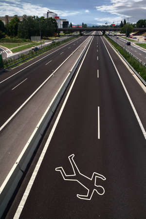 Chalk outline on the road photo