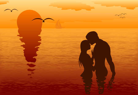 Lovers in the sea at sunset Vector