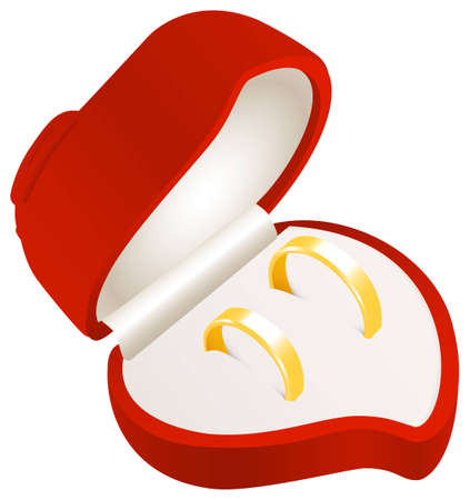 Wedding rings in a heart shaped box Vector