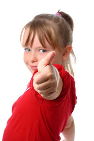 Small girl showing thumbs up gesture with thumb focused isolated on white Stock Photo - 10615750