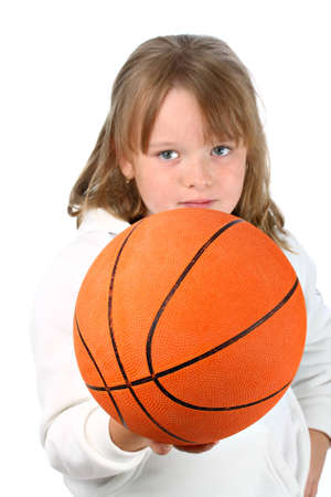 pre schooler: Small girl with long hair handing you the ball challenging you to play isolated on white