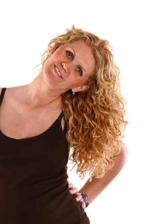 Portrait of a young woman with blonde curly hair, on white. photo