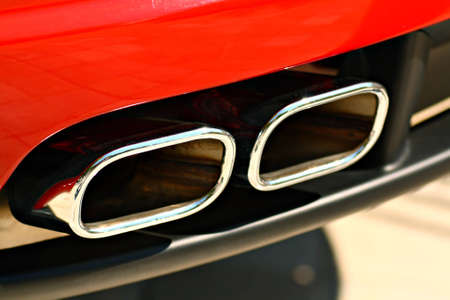 muffler: Double exhaust of a sports car
