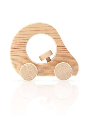 Wooden toy car, side view photo
