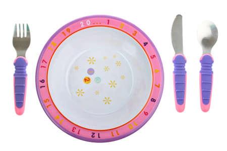 baby cutlery: Plato de comida Childs con cubiertos aislados en blanco Foto de archivo