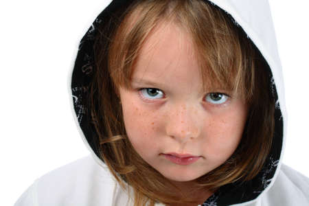 Small girl with long hair in white hood isolated on white photo