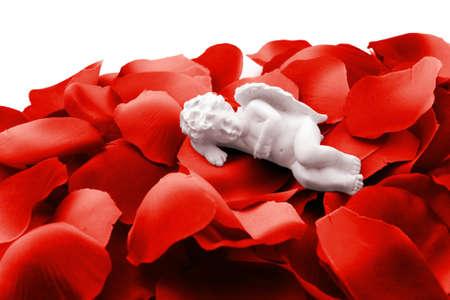 Angel sleeping in valentine rose petals Stock Photo - 10790154