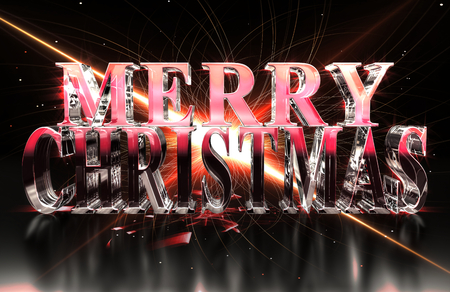 Merry Christmas text in glass with red glare and caustics Stock Photo