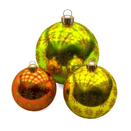 Three Christmas balls with golden snowflakes decoration on white background